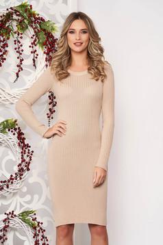 Dress cream long sleeved slightly elastic cotton pencil midi