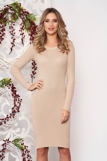 Dress cream long sleeved slightly elastic cotton pencil midi