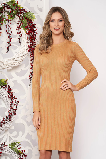 Dress mustard long sleeved slightly elastic cotton pencil midi