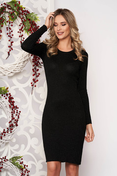 Dress black long sleeved slightly elastic cotton pencil midi