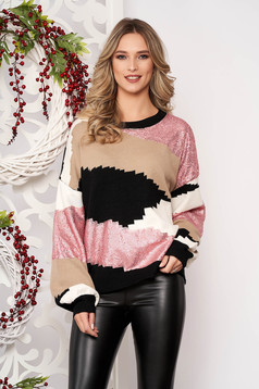Lightpink sweater long sleeved with sequin embellished details from wool long sleeve short cut