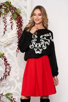 Sweater black long sleeved velvet insertions from wool flared short cut