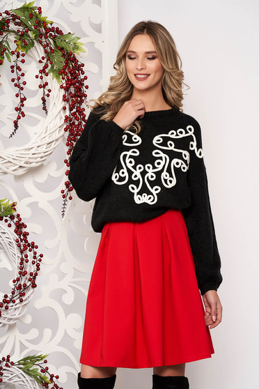 Sweater black long sleeved velvet insertions from wool flared short cut