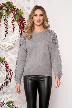 Sweater grey with pearls with net accessory from wool long sleeve flared short cut