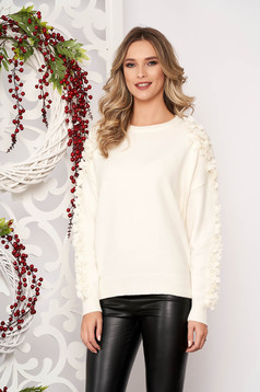 Sweater ivory with pearls with net accessory from wool long sleeve flared short cut