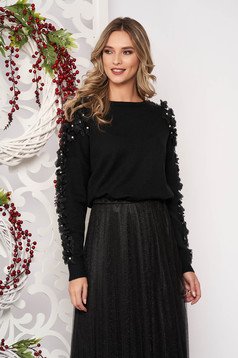 Sweater black with pearls with net accessory from wool long sleeve flared short cut