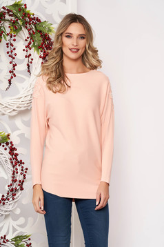 Peach sweater long sleeved with lace details knitted fabric long sleeve flared short cut