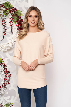Cream sweater long sleeved with lace details knitted fabric long sleeve flared short cut