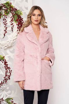 Fur lightpink with pockets long sleeved with button accessories