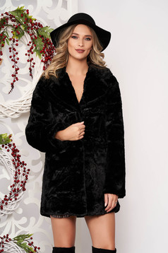 Fur black with pockets long sleeved with button accessories