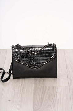 Bag black long chain handle snake print design ecological leather zipper accessory
