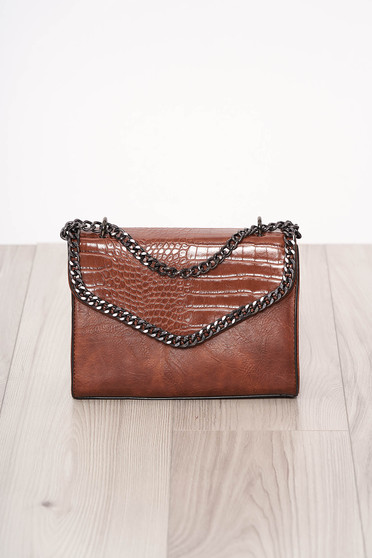 Bag darkbrown long chain handle snake print design ecological leather zipper accessory