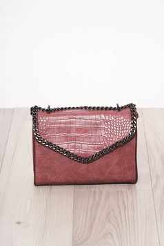Bag pink long chain handle snake print design ecological leather zipper accessory