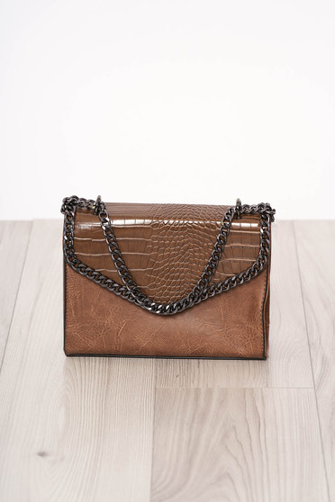 Bag brown long chain handle snake print design ecological leather zipper accessory