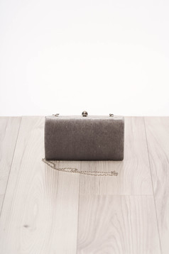 Bag grey long chain handle allure of satin buckle accessory from ecological suede occasional