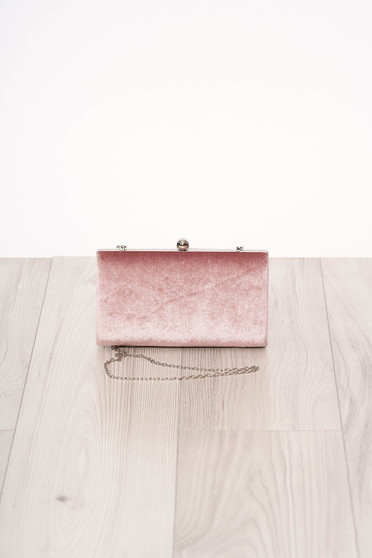 Bag pink long chain handle allure of satin buckle accessory from ecological suede occasional