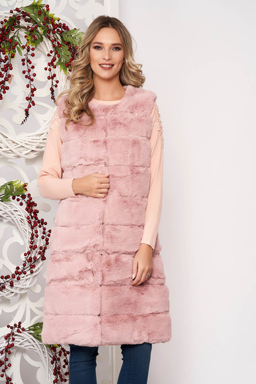 Gilet lightpink elegant from ecological fur with pockets with inside lining sleeveless