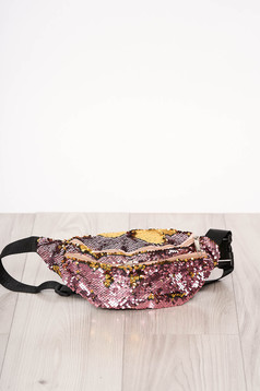 Bag pink zipper accessory with sequin embellished details long, adjustable handle