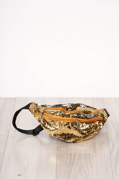 Bag gold zipper accessory with sequin embellished details long, adjustable handle