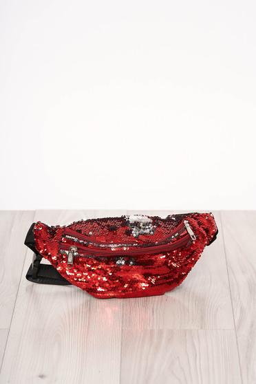 Bag red zipper accessory with sequin embellished details long, adjustable handle