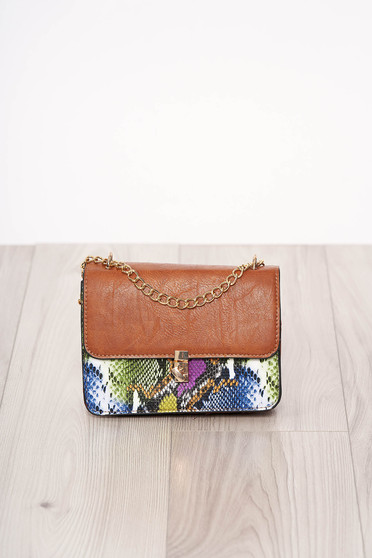 Bag blue with animal print long chain handle buckle accessory ecological leather