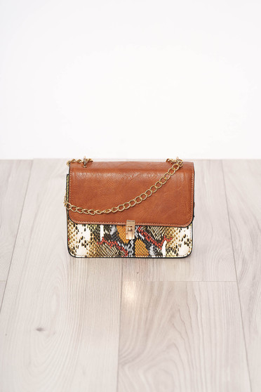 Bag khaki with animal print long chain handle buckle accessory ecological leather