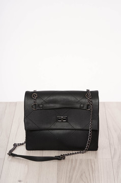 Bag black buckle accessory long chain handle ecological leather