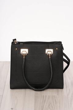 Bag black zipper accessory short handles ecological leather long, adjustable handle