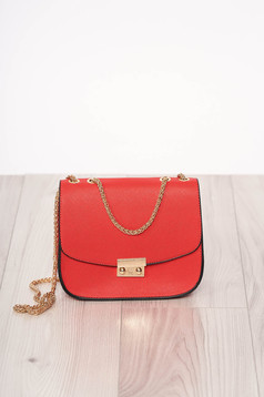 Bag red zipper accessory ecological leather long chain handle buckle accessory