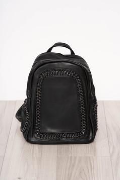 Backpacks black short handles long, adjustable handle metallic details ecological leather