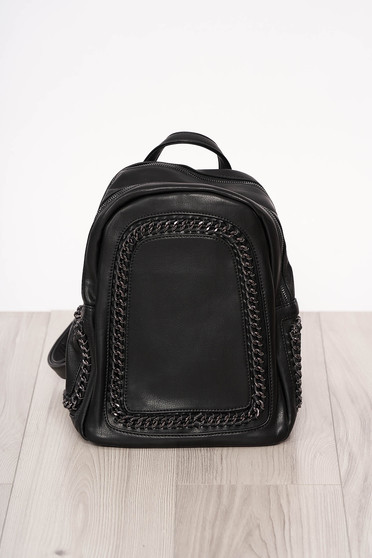 Backpacks black short handles long, adjustable handle metallic details ecological leather