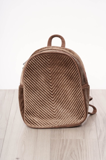Backpacks darkbrown zipper accessory from velvet long, adjustable handle short handles