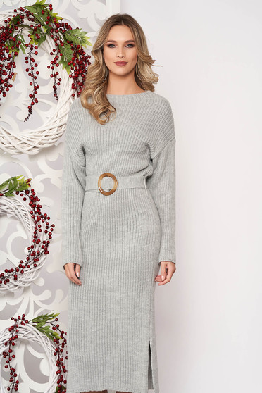 Dress grey knitted fabric accessorized with tied waistband long sleeved buckle accessory