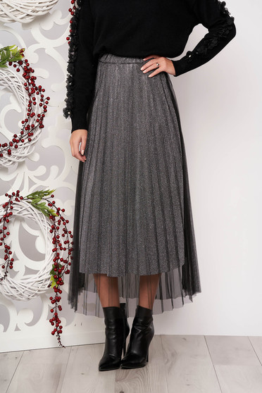 Skirt silver cloche midi with net accessory