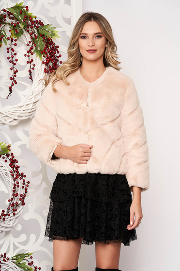 Fur cream occasional long sleeved
