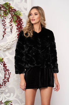 Fur black occasional long sleeved