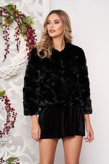 Fur black occasional long sleeved
