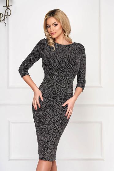 Dress StarShinerS black knitted fabric midi pencil 3/4 sleeve
