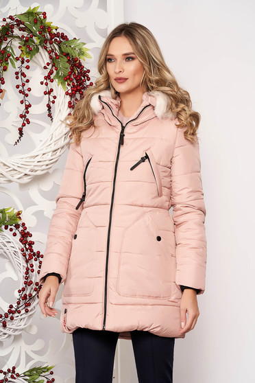 Jacket lightpink casual midi from slicker with pockets detachable hood with furry hood long sleeve