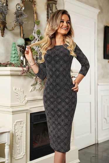 Dress StarShinerS grey knitted fabric midi pencil 3/4 sleeve