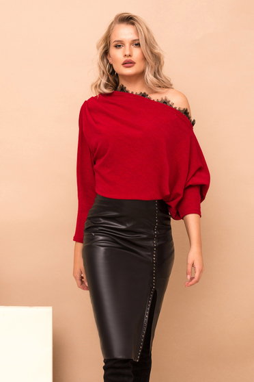 Skirt black with metallic spikes zipper accessory midi pencil ecological leather