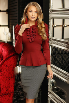 Burgundy women`s shirt office with tented cut bow accessory with lace details with pearls