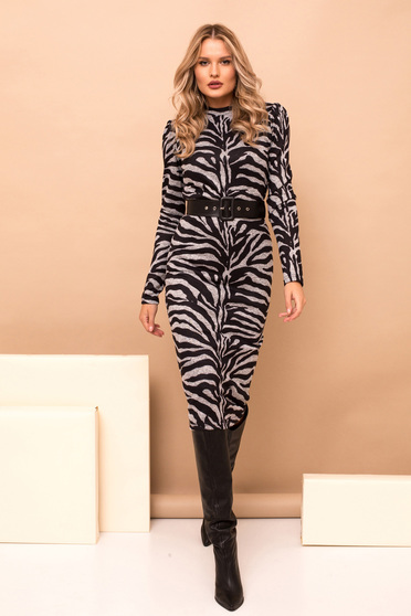Dress grey pencil midi elegant knitted fabric tiger print accessorized with belt