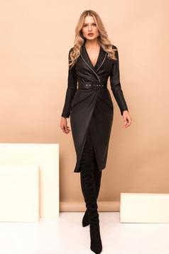 Dress black pencil midi elegant ecological leather wrap around accessorized with belt golden metallic details with v-neckline long sleeved