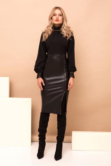 Women`s blouse black elegant cotton flared short cut high collar