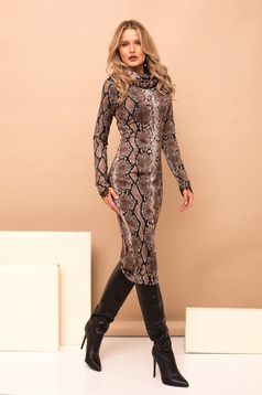 Dress brown pencil midi elegant knitted fabric animal print high collar long sleeved