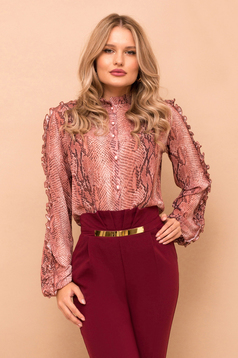 Women`s shirt pink elegant from veil snake print long sleeved with button accessories