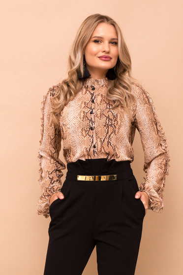 Women`s shirt brown elegant from veil snake print long sleeved with button accessories