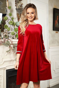 StarShinerS red dress occasional from velvet neckline with 3/4 sleeves short cut flared with crystal embellished details