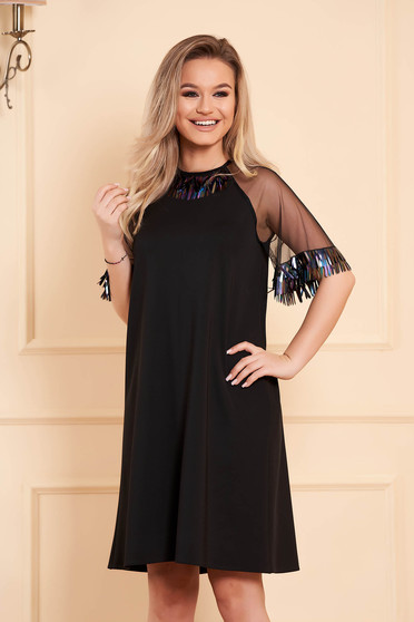 Dress StarShinerS black occasional flared jersey fringes short sleeve